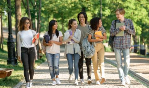 студенты на прогулке